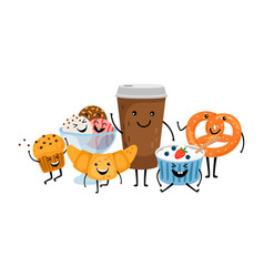 Coffee time with desserts vector