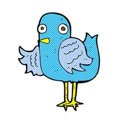 Comic cartoon bird waving wing vector
