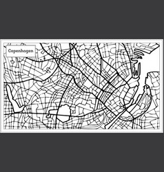 Copenhagen map in black and white color vector