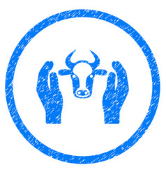 Cow head care hands rounded grainy icon vector