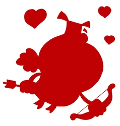 Cupid silhouette cartoon vector image
