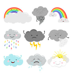 Cute emotional clouds weather icons vector