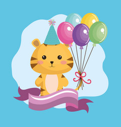 cute tiger with balloons air kawaii birthday card vector image