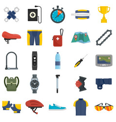 Cycling equipment icons set flat style vector