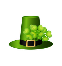cylinder hat leprechaun with clover leaf for st vector image