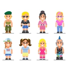 different subcultures woman in trendy flat style vector image