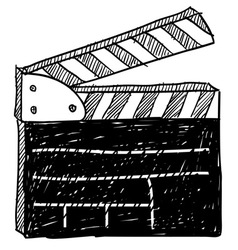 Doodle movie clapperboard vector