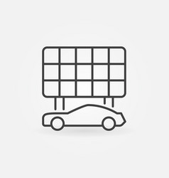electric car with solar panel outline icon vector image