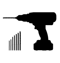 Electric cordless hand drill silhouette with bits vector