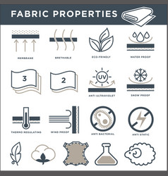 Fabric properties signs monochrome isolated vector