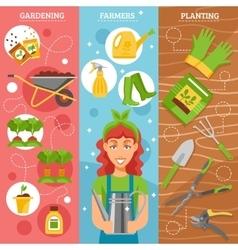 Farmers Gardening 3 Flat Banners Set vector