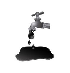 Faucet with petroleum drop contamination vector