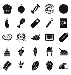 Favorite delicacy icons set simple style vector