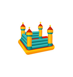 Flat bouncy inflatable castle trampoline vector