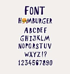 font hamburger the alphabet for inscriptions vector image