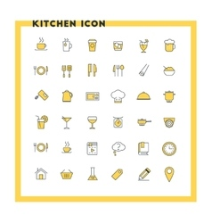 Food and kitchen flat design icon set Food vector image