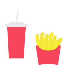 french fries potato in a paper wrapper box icon vector image