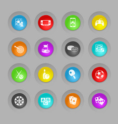 Games colored plastic round buttons icon set vector