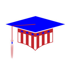 graduation hat styled in colors usa vector image