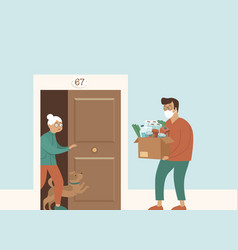 Groceries and food delivery for elderly people vector
