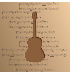 Guitar cut out of paper - music background notes vector