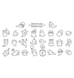 halloween ghost line icon cute line art vector image