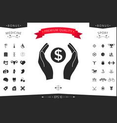 hands holding money - dollar symbol vector image