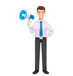 Handsome business man holding loudspeaker vector