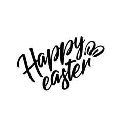 happy easter black lettering text with rabbit vector image