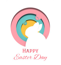 happy easter day greeting card rabbit and easter vector image