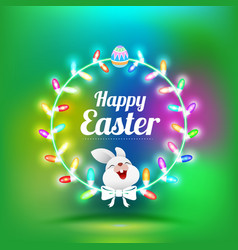 happy easter greeting card with rabbit vector image