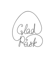 happy easter swedish calligraphy line art vector image