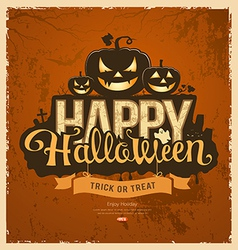 Happy halloween pumpkin message design vector image