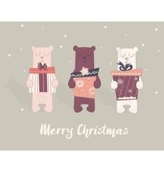 Holiday of a cute polar bears vector