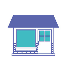 house facade of one floor in blue and purple color vector image