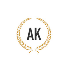 Initial letter ak wheat luxurious minimalist vector