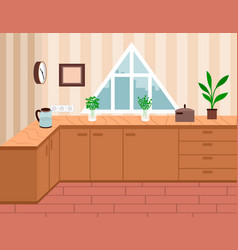 Interior design kitchen or dining room home vector