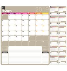 italian calendar 2019 vector image