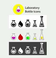 Lab bottle icons vector