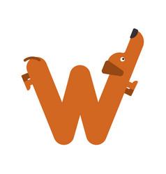 letter w is dog pet font dachshund alphabet vector image