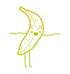 line kawaii cute happy banana fruit vector image vector image