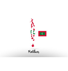 Maldives country flag inside map contour design vector