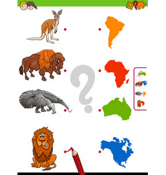 Match animals and continents educational game vector