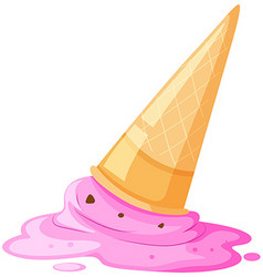 Melted ice cream and cone on the floor vector