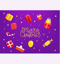 merry christmas greeting card with gift boxes vector image