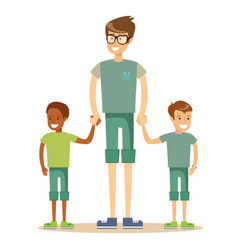 mixed race family vector image
