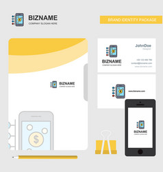 Money through smartphone business logo file cover vector