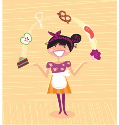 mother kitchen super hero vector image