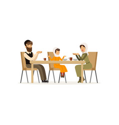 Muslim family sitting at dinner table mother vector