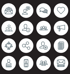 Network icons set with dialogue staff private vector
